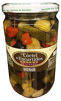 Hacendado Coctel encurtido (pepinillo,cebollita,aceituna verde y negra, mazorca de maiz ajo y pimiento) Tarro 670 g escurrido 380 g
