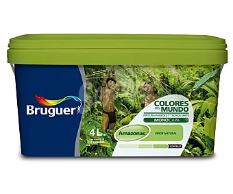 BRUGUER Pintura plástica de interior de color verde Amazonas, de la serie Colores del mundo 4 litros