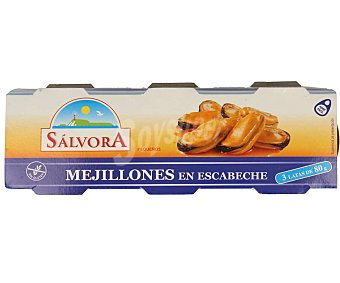 Salvora Mejillones escabeche Lata de 80 g. pack de 3