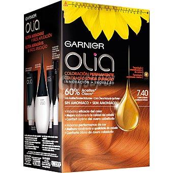 Olia Garnier Tinte Cobre Intenso nº 7.40 coloración permanente con aceites florales naturales sin amoniac Caja 1 unidad