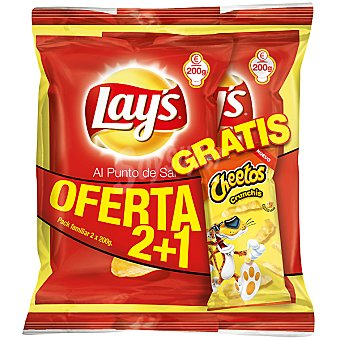 Lay's patatas fritas al punto de sal + Cheetos Crunchis... pack 2 bolsas 200 g