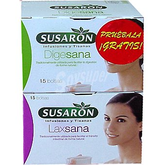 Susaron Tisana Laxsana para facilitar el tránsito intestinal de forma natural + tisana Digesana estuche 15 bolsitas de regalo Estuche 15 bolsitas