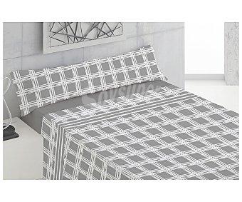 TEXTIL HOGAR Juego de sábanas de franela 100% algodón para cama de 105cm., diseño cuadros en tonos grises, Hogar.