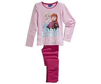 Disney Pijama largo para niña FROZEN, color rosa, talla 3