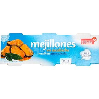 ALIADA Mejillones en escabeche de las rías gallegas neto escurrido pack 3 lata 43 g