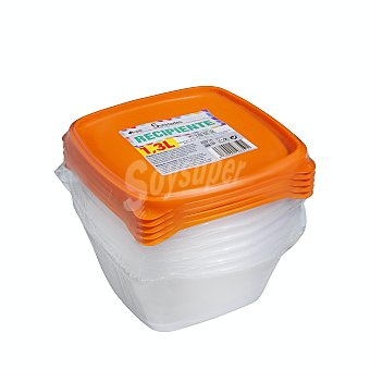 Bosque Verde Hermetico plastico multiusos cuadrado alto 1,3 L. Paquete 5 u
