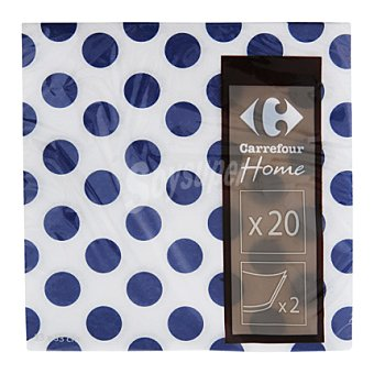 Carrefour Servilletas 33x33 cm 2 capas topos azules 20 ud