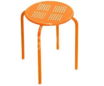 Productos Económicos Alcampo Taburete de metal apilable color naranja, 30x30x44 centímetros 1 unidad