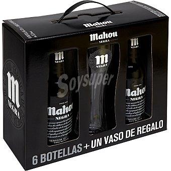 Mahou cerveza negra nacional  pack 6 botella 33 cl