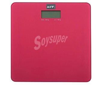 Msv Bascula de baño de vidrio de color rosa, precisión y diseño, msv.