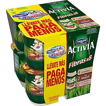 Activia Danone Yogur bifidus activia fibras 4 cereales 2 muesli 2 cereales con fresas Pack 8 x 125 g - 1 kg