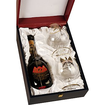 CONSTITUCION Brandy Estuche de lujo plata botella 70 cl + 2 copas Botella 70 cl + 2 copas