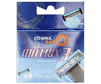 COSMIA Man Recambio de cuchillas de tres láminas para maquinilla de afeitar Matrix 3 10 unidades