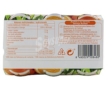 Auchan Yogur líquido lactocasei vital de naranja 6 unidades de 100 gramos