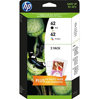 HP Nº 62 cartuchos de tinta en negro y color Pack 2
