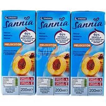 Eroski Sannia Néctar de melocotón sin azúcar Pack 6x20 c