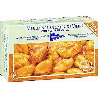 HIPERCOR mejillones en salsa de vieira con aceite de oliva 8-12 piezas  lata 65 g neto escurrido