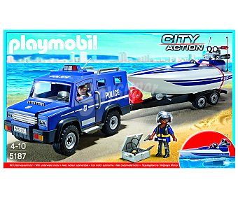 PLAYMOBIL Playset City Action, Coche de Policía con Lancha, Modelo 5187 1 Unidad