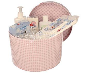 NAHORE Canastilla de bebé de color rosa compuesta por crema hidratante, pasta al agua para las irritaciones del pañal, gel champú extrasuave, toallitas y colonia 1 unidad