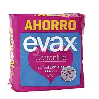 Evax Cottonlike compresa normal con alas Bolsa 64 uds