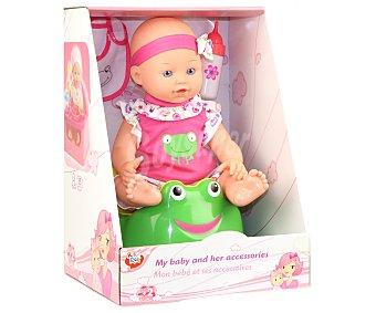 Rik&Rok Auchan Muñeco bebé sentado de 35 centímetros con accesorios 1 unidad