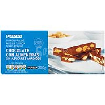 Eroski Turrón de chocolate con almendras sin azúcar Caja 200 g