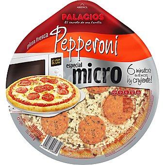 Palacios Pizza pepperoni con champiñones y orégano para microondas Envase 350 g