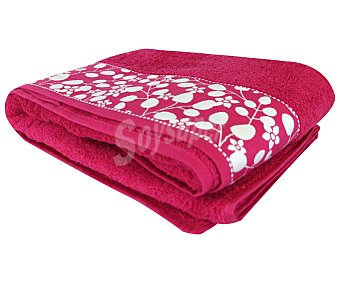 Actuel Toalla de baño 100% algodón color rosa fucsia con cenefa diseño Flores, densidad de 450 g/m² 1 unidad