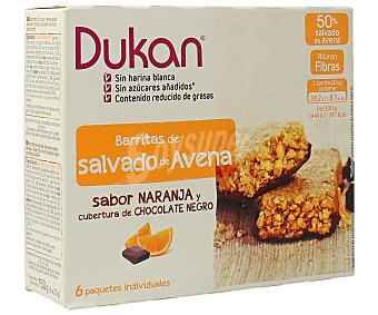 DUKAN Barritas de salvado de avena sabor naranja y cubertura de chocolate negro 150 gramos