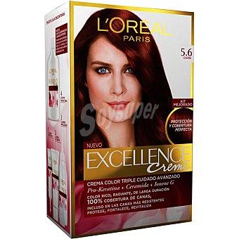 Excellence L'Oréal Paris Tinte Caoba Castaño Claro nº 5.6 crema color triple cuidado caja 1 unidad con Pro-keratina + Ceramida + Colágeno Caja 1 unidad