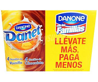 Danet Danone Natillas Surtidas (vainilla+chocolate) 8 Unidades de 130 Gramos