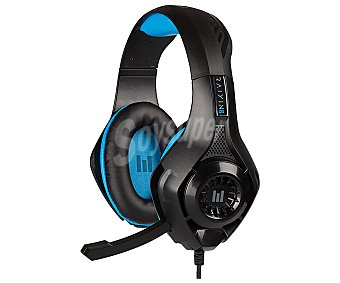 Indeca Auriculares gaming con micrófono compatibles con Ps4, Xbox, Switch, Pc y Mac, color negro y azul, New Rayin 2 indeca