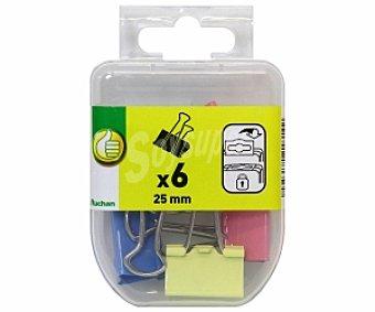 Productos Económicos Alcampo Caja de 6 pinzas abatibles de 25 milímetros y de diferentes colores 1 unidad