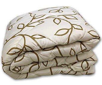 AUCHAN Edredón estampado ramas color lino para cama individual, 180x260 centímetros 1 Unidad