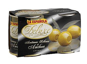 La Española Aceitunas rellenas de anchoa deluxe Pack 2x85 g neto escurrido