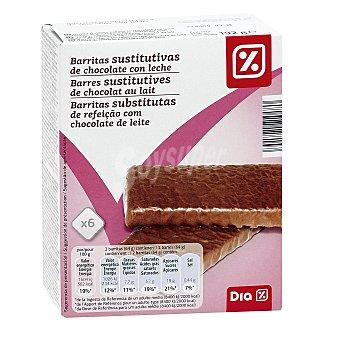 DIA Barritas sustitutivas crujientes de chocolate con leche caja 6 uds 6 uds