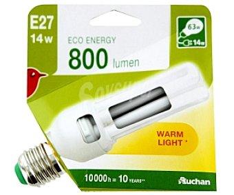 Auchan Bombilla bajo consumo tubo 14 Watios, casquillo E27 (grueso), luz cálida 1 unidad