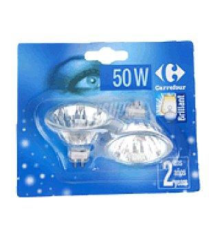 Carrefour 2 bombillas halogenas dicroica 50W