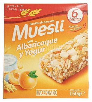 Hacendado Barrita cereales muesli albaricoque y yogur Caja 6 u