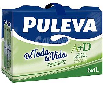 Puleva Leche semidesnatada A+D Pack 6 brick x1 litro