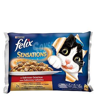 Felix Purina Sensations de buey-pollo Pack 4x100 g