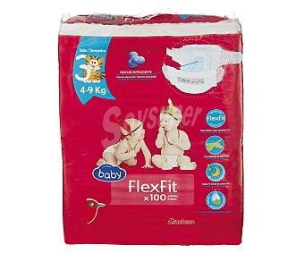 Auchan Pañales talla 3 (4-9 kilogramos) flexfit de 100 unidades