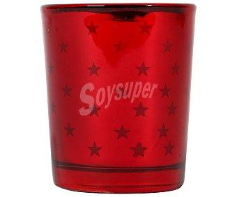Actuel Portavela de cristal de color rojo de 56x67 centímetros, con vela perfumada, ACTUEL.