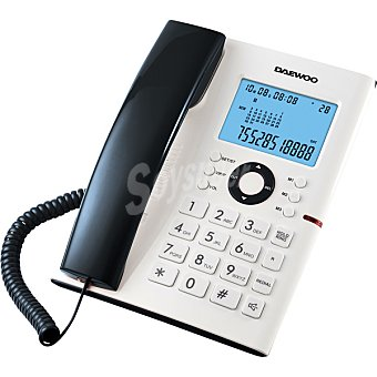 Daewoo Teléfono de sobremesa con gran pantalla retroiluminada en color blanco y negro