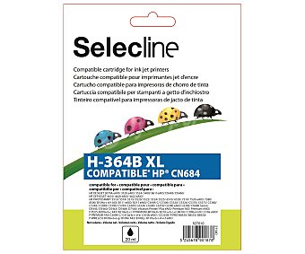 Selecline Cartucho de tinta compatibles HP 364XL, (PRODUCTO ECONOMICO ALCAMPO), negro, compatible: Deskjet 3070A, Officejet 4620, Photosmart 5510/5515/6510/7510/B109/B109D/B110/B207/B209/C310D/C5300 Series/C5324/C5380/C5390/C6300 Series/C6324/C6380 364XL negro compatib