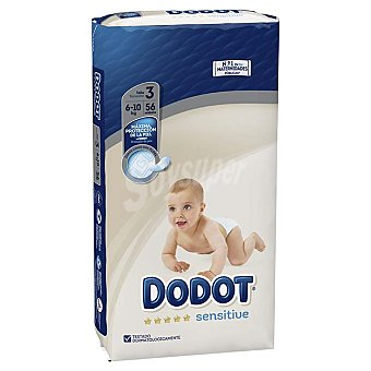 Dodot Sensitive pañales 6-10 kg talla 3 paquete 56 uds