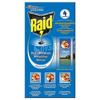Raid Insecticida anti-moscas en adhesivos decorativos Bouquet Floral caja 4 unidades Caja 4 unidades