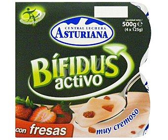 Central Lechera Asturiana Yogur Bífidus con fresas Pack 4x125 g