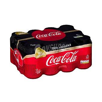 Coca-Cola Zero Refresco de cola zero azúcar y sin cafeína Pack 12 latas x 33 cl
