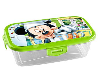 Mickey Disney Recipiente infantil transparente con tapa Mickey, DISNEY.